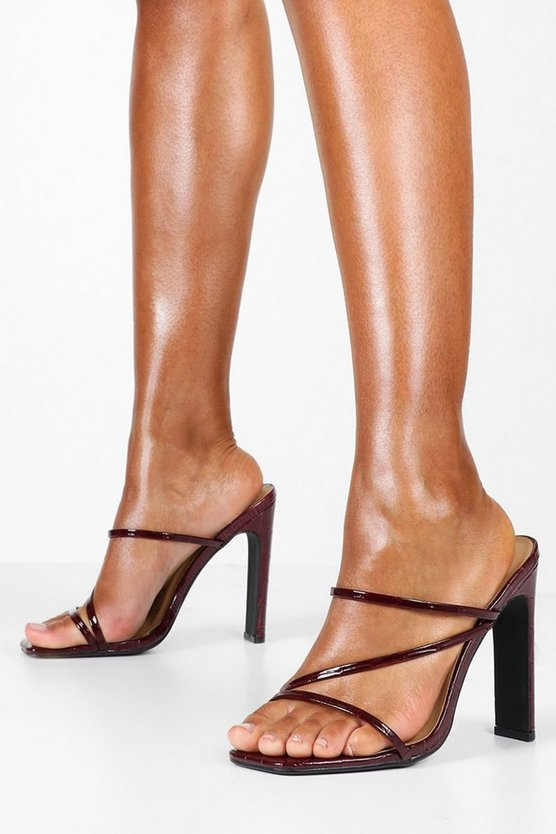 Croc Square Toe Strappy Mules by Boohoo