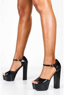 Dam Black Croc Platform Two Part Heels