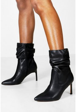 Black Wide Fit Rouched Calf High Boots