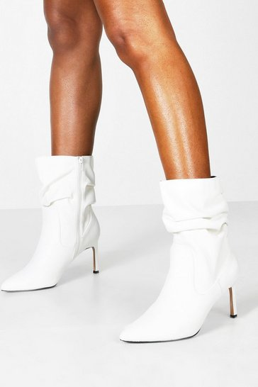 Womens White Wide Fit Rouched Calf High Boots