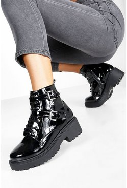 Black Wide Fit Patent Lace Up Hiker Boots