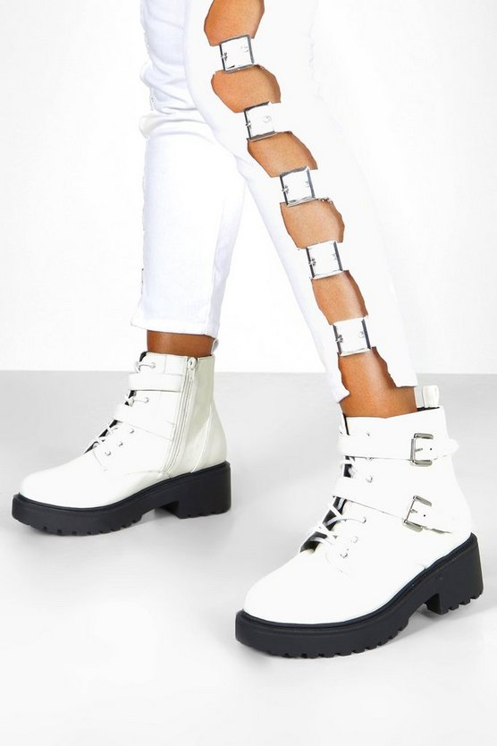 White Wide Fit Lace Up Hiker Boots