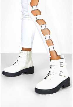 Womens White Wide Fit Lace Up Hiker Boots