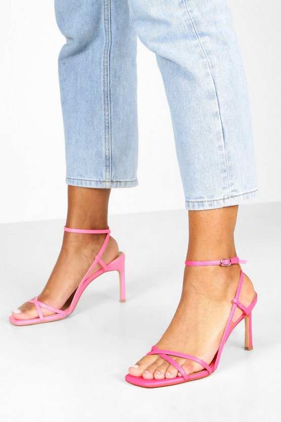 Pink Wide Fit Strappy Square Toe Heeled Sandals