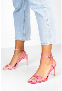 Womens Pink Wide Fit Strappy Square Toe Heeled Sandals