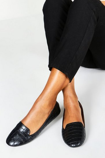Black Wide Fit Tab Top Slipper Ballets