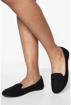 Womens Black Wide Fit Tab Top Slipper Ballets