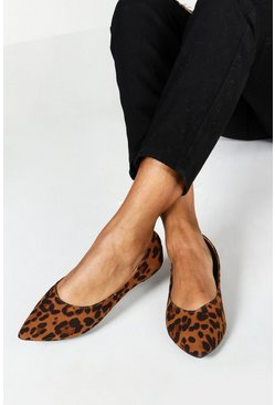 Dam Wide Fit Leopard Pointed Ballets