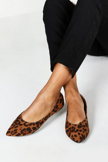 Womens Wide Fit Leopard Pointed Ballets