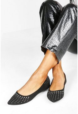 Dam Black Wide Fit Studded Pointed Ballets