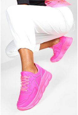 Pink Bubble Sole Neon Sneakers