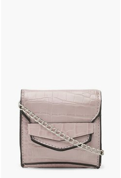 Womens Lilac Croc Front Tab Micro Mini Cross Body Bag