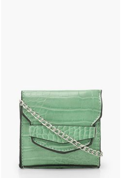 Womens Mint Croc Front Tab Micro Mini Cross Body Bag