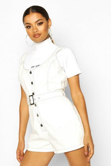 Womens Ivory Contrast Stitch Cup Detail Playsuit