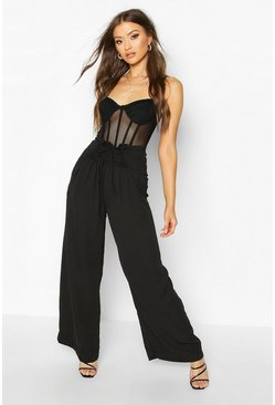 Womens Black Lace up Wide Leg Trousers