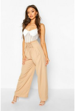 Womens Sand Lace up Wide Leg Trousers
