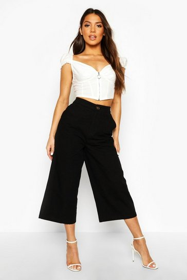 Womens Black Horn Button Wide Leg Culotte