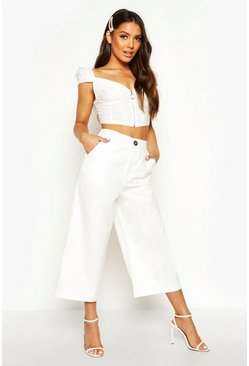 Womens Ivory Horn Button Wide Leg Culotte