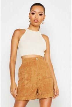 Womens Sand Chunky Cord Turn up Shorts