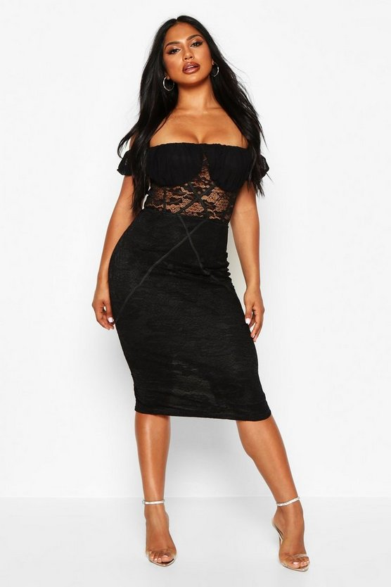 Womens Black Off The Shoulder Midi Lace Dress