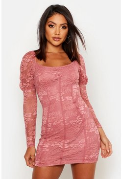 Womens Blush Long Sleeve Mini Peasant Lace Dress