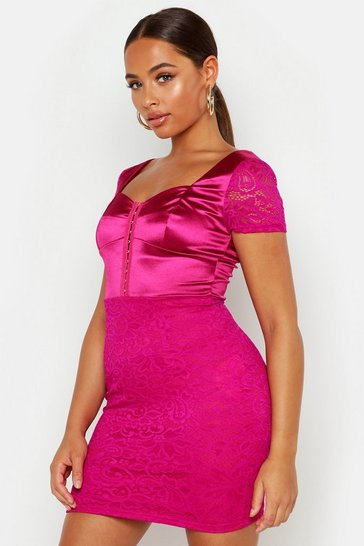 Womens Pink Satin Mix Lace Mini Dress