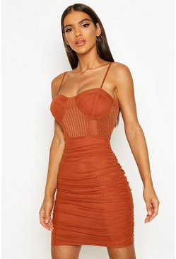 Womens Rust Mesh Ruched Mini Dress