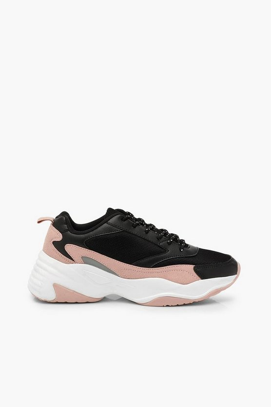 Contrast Sole Chunky Trainers With Reflective Strip
