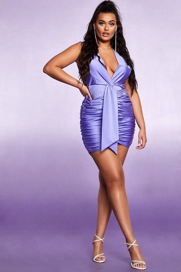 Womens Purple Plunge Ruched Belted Bodycon Dress