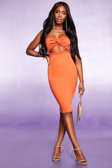 Womens Orange Cut Out Detail Bodycon Mini Dress