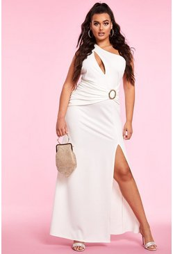 One Shoulder Ruched Side Split Maxi Dress, Ivory, Donna