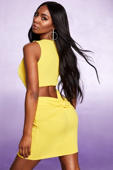 Womens Yellow Plunge Ruched Bust and Bum Bodycon Dress