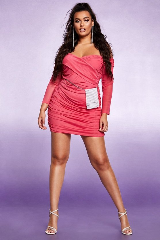 Cerise Off The Shoulder Ruched Mesh Bodycon