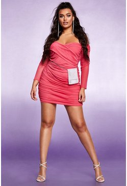 Dam Cerise Off The Shoulder Ruched Mesh Bodycon