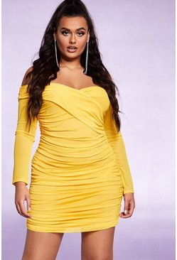 Womens Yellow Off The Shoulder Ruched Mesh Bodycon