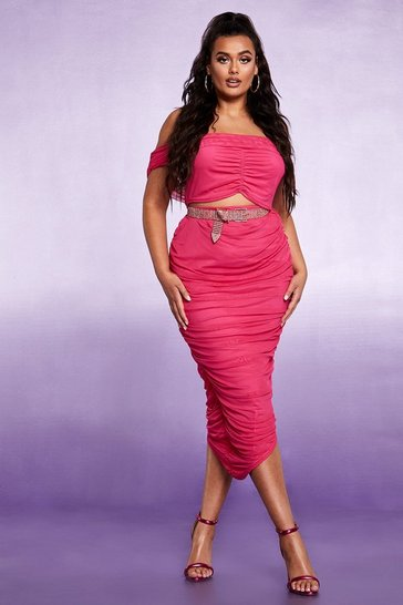 Womens Cerise Mesh Ruched Maxi Skirt