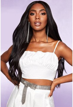Dam White Pearlised Ruched Crop Top