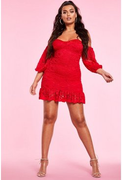 Womens Red Bardot Ruched Lace Mini Dress
