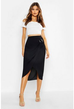 Womens Black Buckle Detail Wrap Midi Skirt