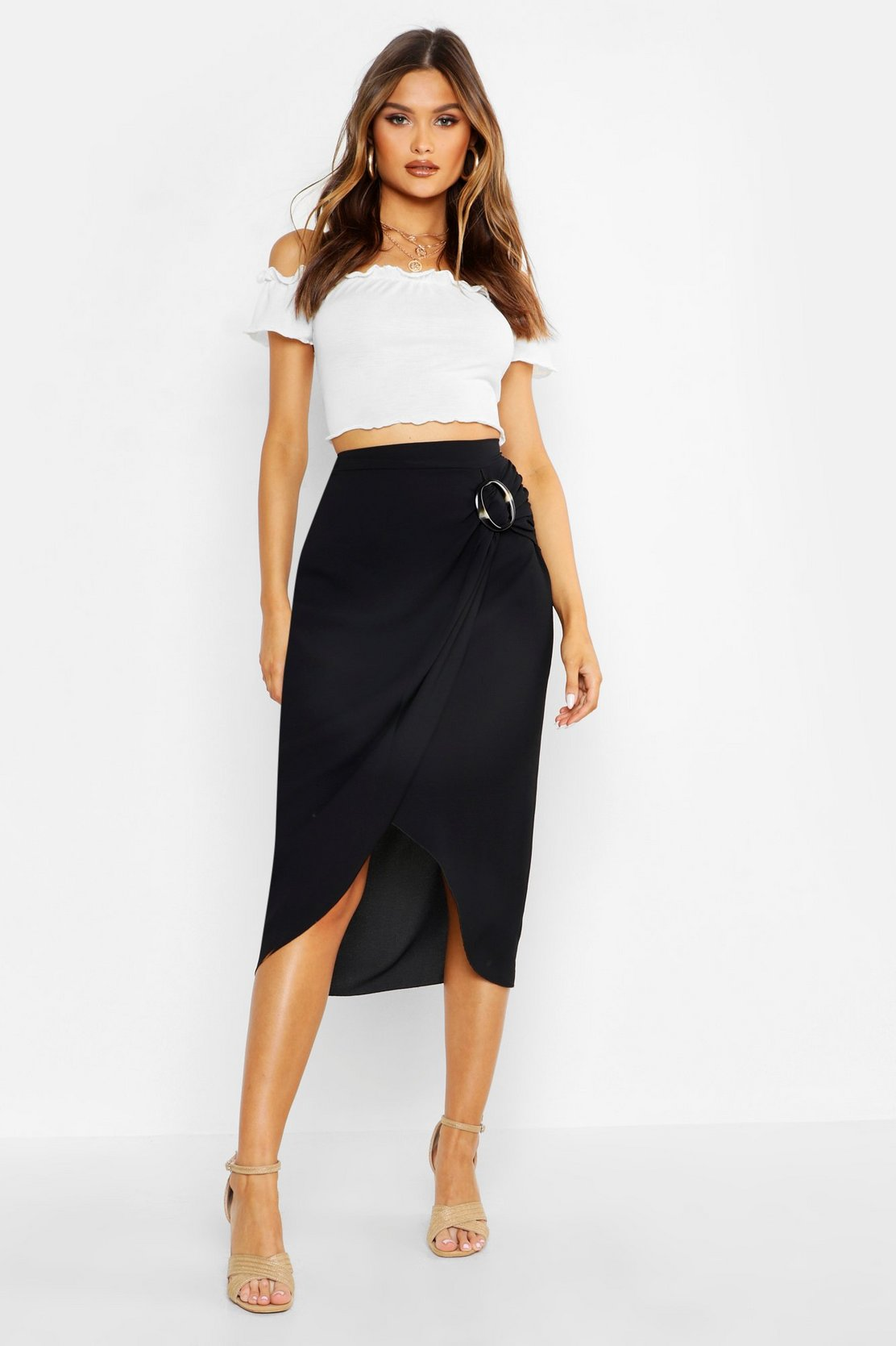 Buckle Detail Wrap Midi Skirt by Boohoo
