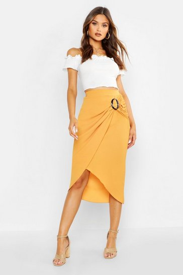 Mustard Buckle Detail Wrap Midi Skirt