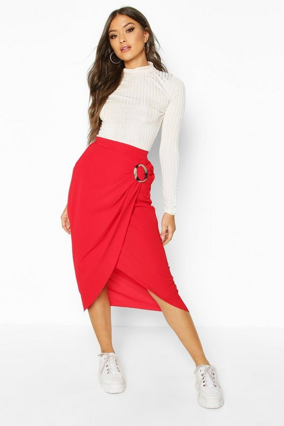 Buckle Detail Wrap Midi Skirt Buckle Detail Wrap Midi Skirt by Boohoo