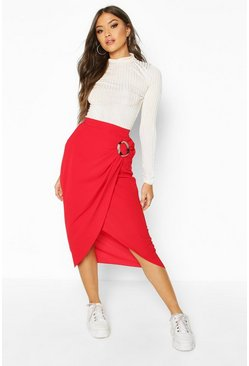 Womens Red Buckle Detail Wrap Midi Skirt