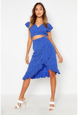Womens Blue Polka Dot Ruffle Midi Skirt