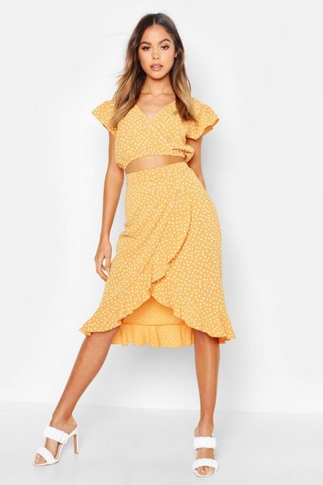 Womens Mustard Ruffle Polka Dot Top