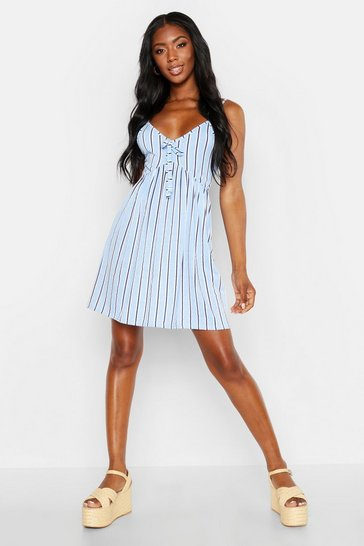 Womens Blue Stripe Tie Front Strappy Sundress