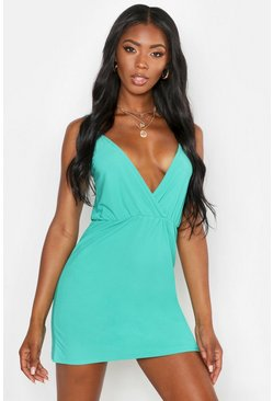 Womens Green Strappy Plunge Wrap Sundress