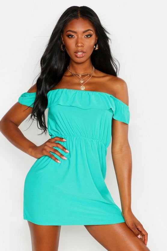 Womens Green Ruffle Off Shoulder Sundress
