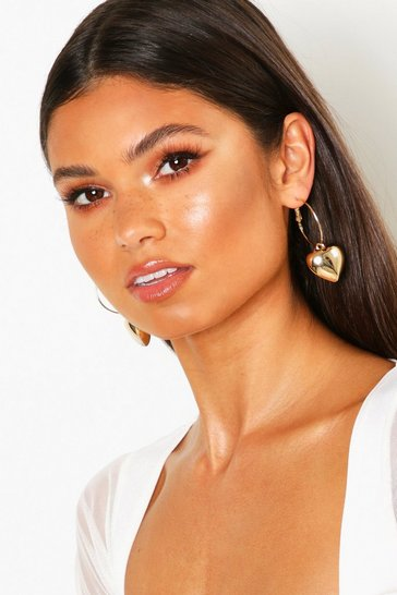 Womens Gold Heart Charm Hoop Earrings