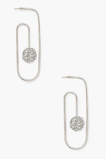 Womens Silver Glitter Ball Paper Clip Earrings